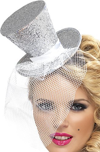 Fever Mini Top Hat on Headband, Silver, with Detachable Netting