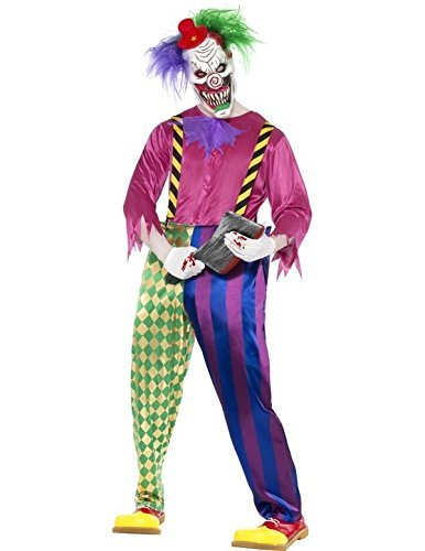 "Kolorful Killer Klown Costume, Multi-Coloured, with Shirt, Trousers, Braces & Mask -  (Size: Chest 42""-44"", Leg Inseam 33"")"