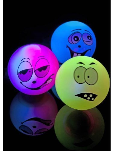 Zany Face Balls, Assorted Colours, Flashing and Bouncing, 12