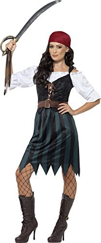 Pirate Deckhand Costume, Blue, with Shirt, Mock Waistcoat, Skirt, Belt & Bandana -  (Size: UK Dress 20-22)