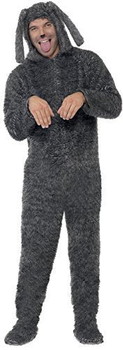 "Fluffy Dog Costume, Grey, with Hooded All in One -  (Size: Chest 42""-44"", Leg Inseam 33"")"