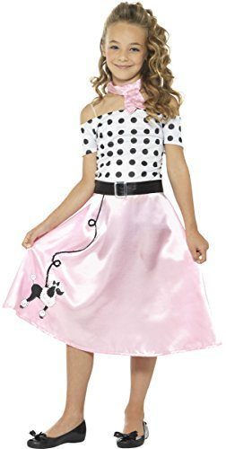 50s Poodle Girl Costume, Pink, with Dress, Neck Tie & Belt -  (Size: Tween 12+)