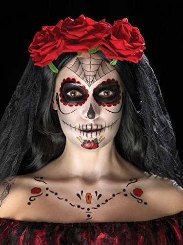 Day of the Dead Face Tattoo Transfers Kit, Red & Black, Facepaints, Crayon & Applicators