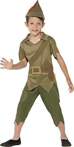 Robin Hood Costume, Green, with Hat, Top & Trousers -  (Size: Medium Age 7-9)