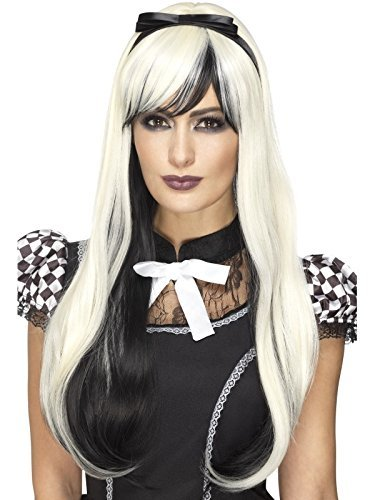 - Deluxe Gothic Alice Wig, Blonde & Black, Heat Resistant / Styleable, with Headband