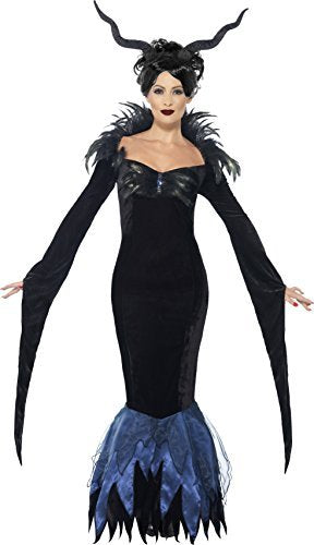 Lady Raven Costume, Black, with Dress & Attached Feathers -  (Size: UK Dress 12-14)