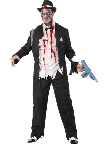"Zombie Gangster Costume, Black, Jacket, Trousers, Top, with Latex Pieces & Bow Tie -  (Size: Chest 42""-44"", Leg Inseam 33"")"