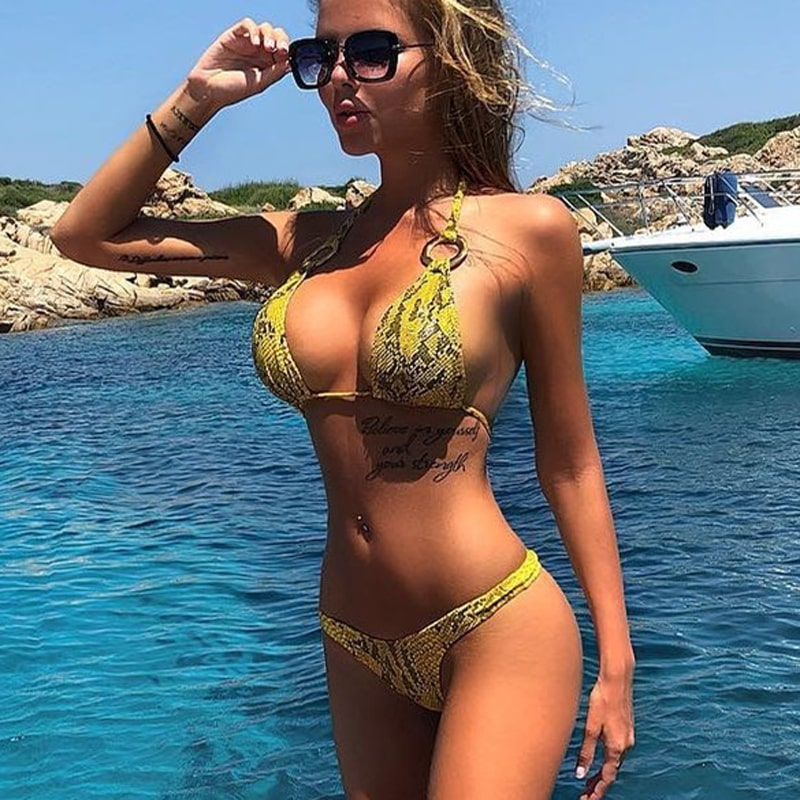 Sexy yellow leopard bikini with ring