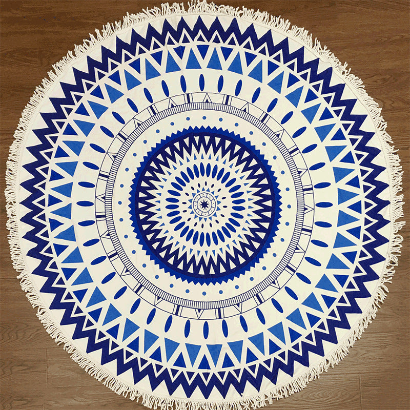 Multiple patterns round printed beach towel