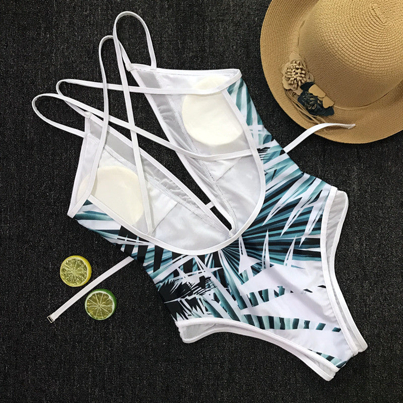 Women's fashion bamboo leaf print one-piece swimsuit
