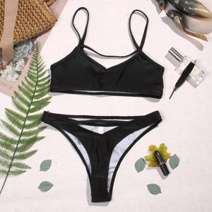 triangle hollow black bikini