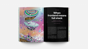 "Chris Coyer's ""When frontend means full stack"" title spread"