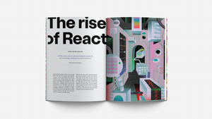 "Chris Stokel-Walker's ""The rise of React"" title spread"