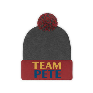 Team Pete Yellow And Blue Logo Pete Pom Pom Hat - Boot Edge Edge Merch