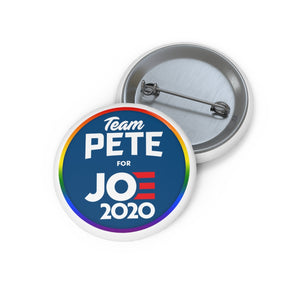 Team Pete For Joe 2020 Rainbow Border Button - Boot Edge Edge Merch