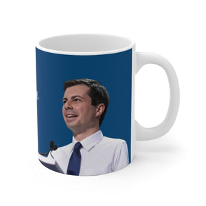 Pete Buttigieg Light Blue Service Mug - Boot Edge Edge Merch