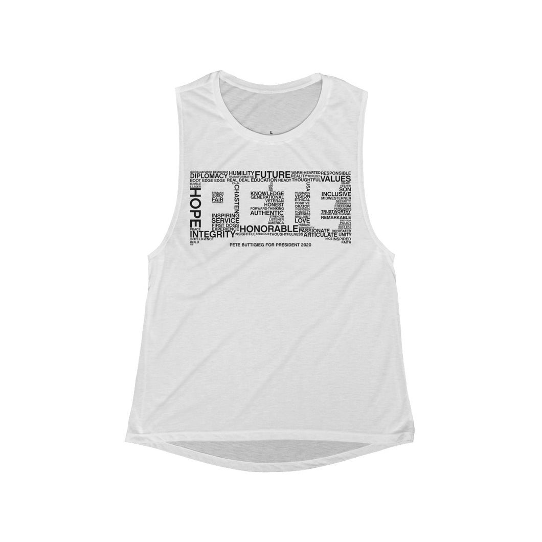 Pete Word Cloud Black Tank Top - Boot Edge Edge Merch
