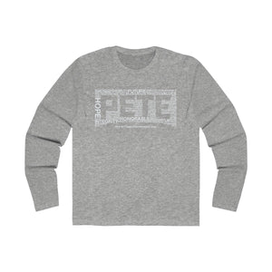 Pete Word Cloud White Long Sleeve Crew Tee - Boot Edge Edge Merch