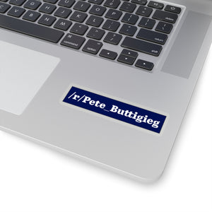 White on Blute /r/Pete_Buttigieg Subreddit Sticker - Boot Edge Edge Merch