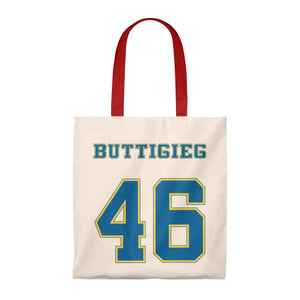 Buttigieg 46 Yellow and Blue Logo Tote Bag