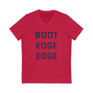 Dark Blue Boot Edge Edge Short Sleeve V-Neck Tee