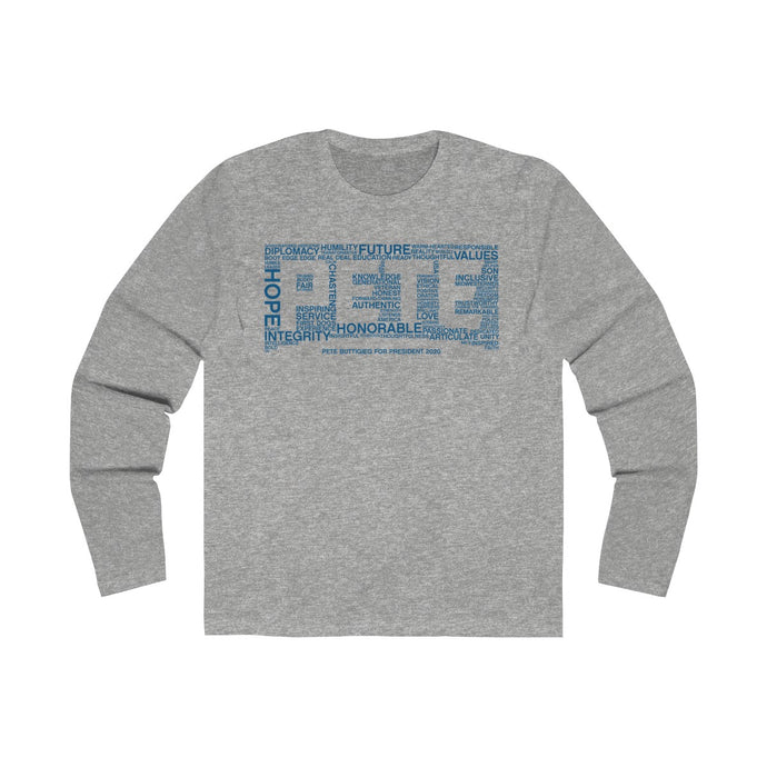 Pete Word Blue Blue Long Sleeve Crew Tee - Boot Edge Edge Merch
