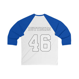 Buttigieg 46 White Outlines Logo 3/4 Sleeve Baseball Tee - Boot Edge Edge Merch
