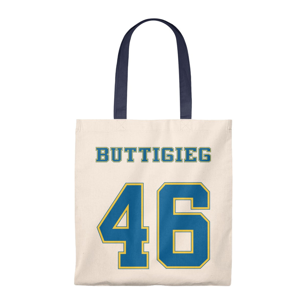 Buttigieg 46 Yellow and Blue Logo Tote Bag - Boot Edge Edge Merch