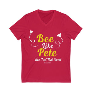 Bee Like Pete, He's Just That Sweet! Short Sleeve V-Neck Tee - Boot Edge Edge Merch