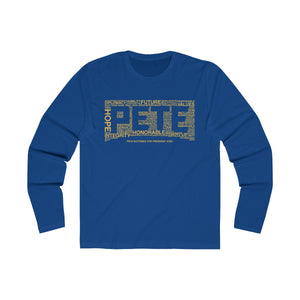 Pete Word Cloud Yellow Long Sleeve Crew Tee - Boot Edge Edge Merch