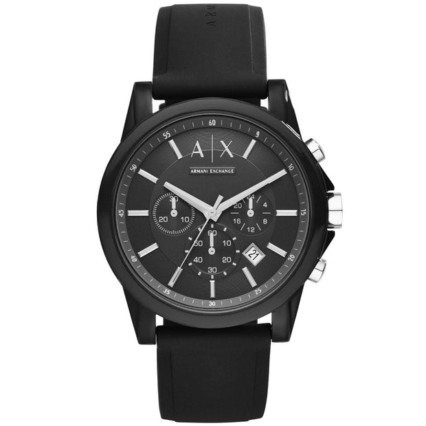 Armani Exchange Men's Black Silicone Chronograph Watch AX1326