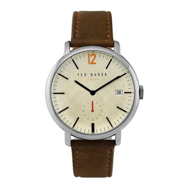 Ted Baker Mens Classic Brown Leather Strap Quartz Watch TE50015002