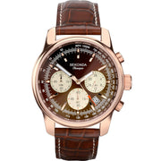 Sekonda 1482 Men's Multi Dial Rose Gold Brown Leather Strap Watch