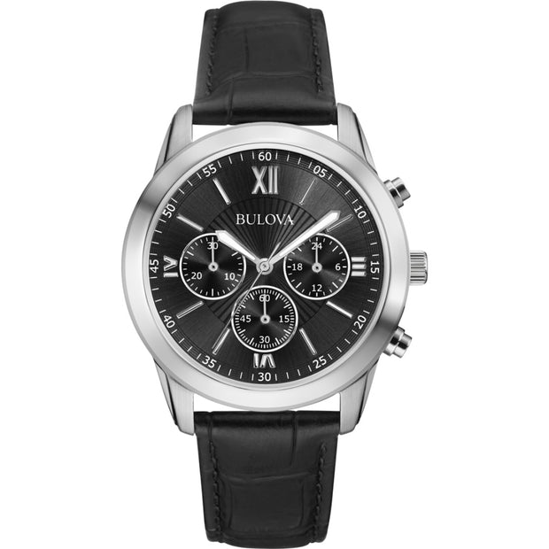 Bulova Men's Chronograph Black Leather Strap Dress Watch 96A173