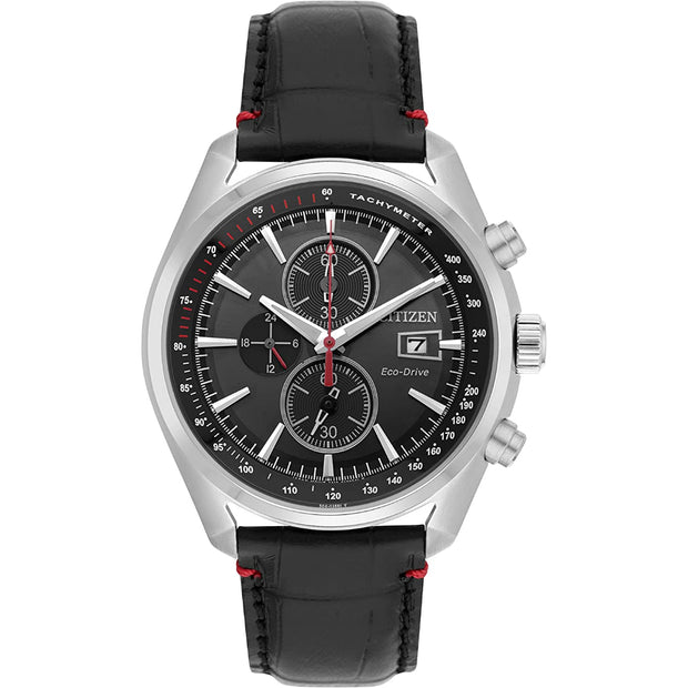 Citizen Eco-Drive Men's Chronograph Black Leather Strap Watch CA0369-11E