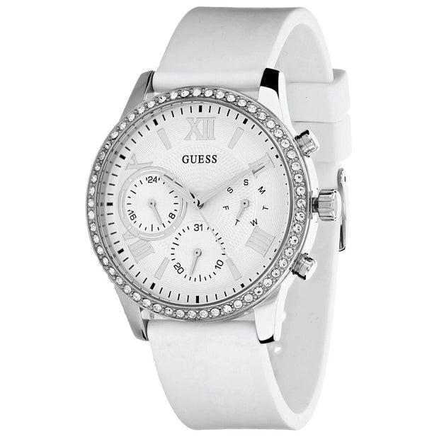 Guess Ladies Solar White Silicone Strap Watch W1135L7