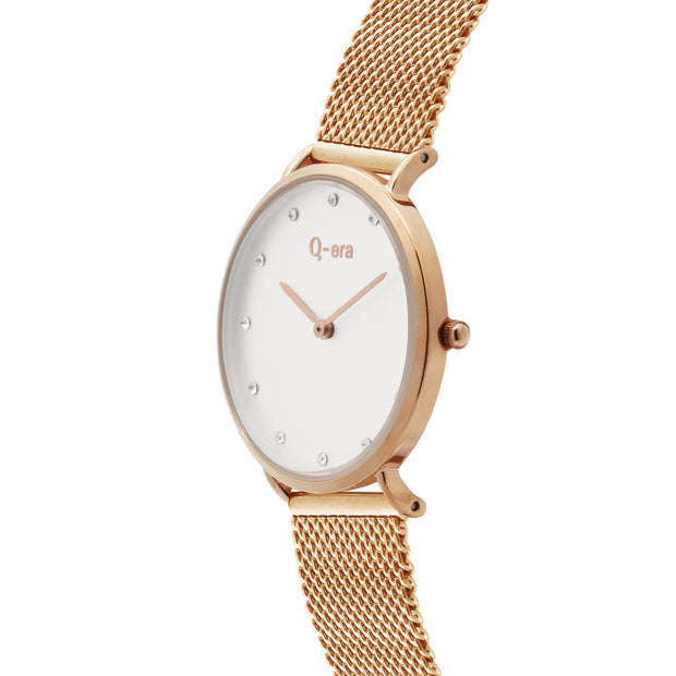 Q-era Lowanna Women's Thin Minimalist Rose Gold Watch QV2802-34