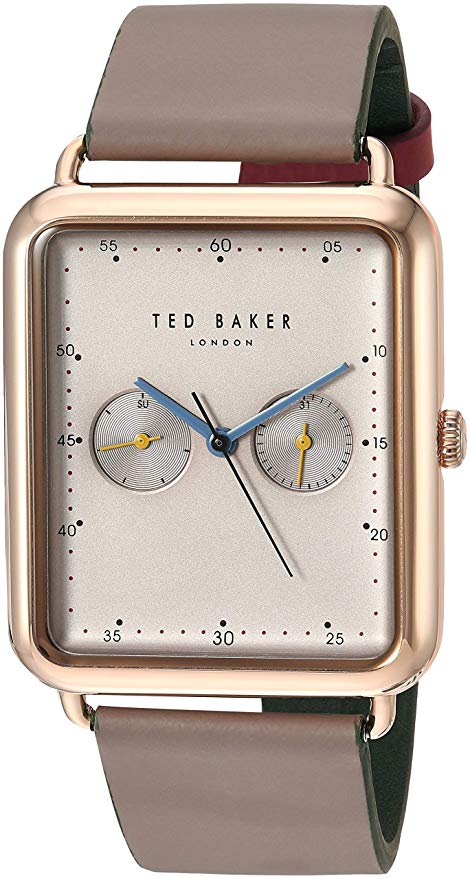 Ted Baker Isaac Men's Square Brown Leather Strap Watch TE50517002