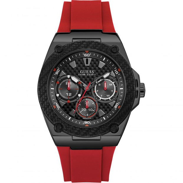 Guess Men's Legacy Multi-Dial Red Rubber Strap Watch W1049G6