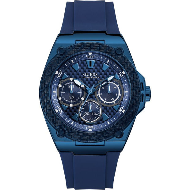 Guess Men's Legacy Multi-Dial Blue Rubber Strap Watch W1049G7