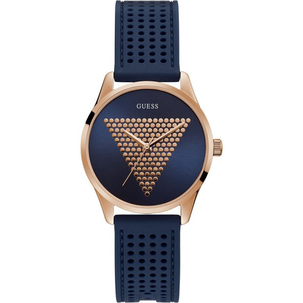 Guess Women's Mini Imprint Rose Gold Blue Dial Watch W1227L3