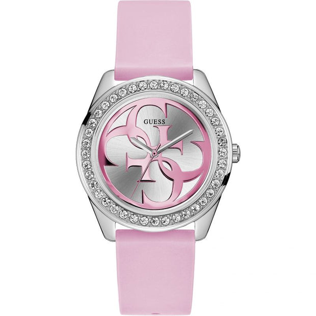 Guess Ladies G-Twist Quartz Pink Silicone Strap Watch W1240L1