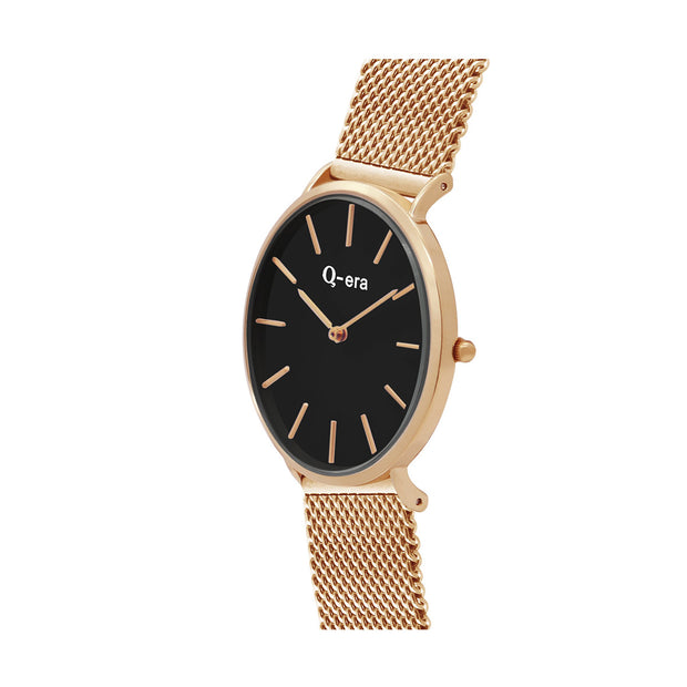Q-era Men's Yarran Slim Rose Gold Wrist Watch QV2806-13 Side View