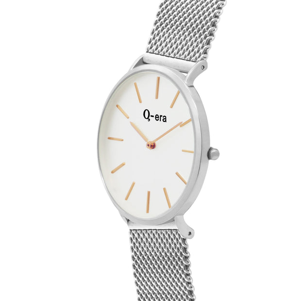 Q-era Men's Yarran Slim Silver Wrist Watch QV2806-14 Side View