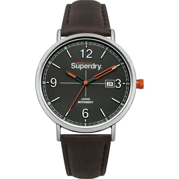 Superdry Men's Leather Strap Watch SYG190BR