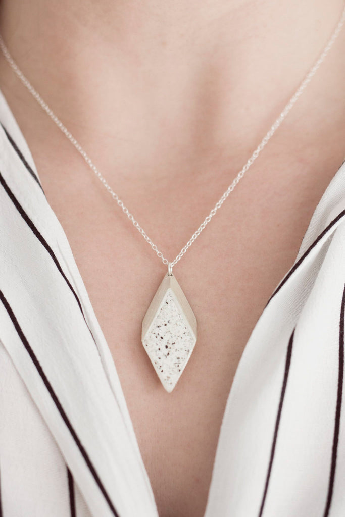 Sterling Silver & Jesmonite 3D Rhombus Necklace