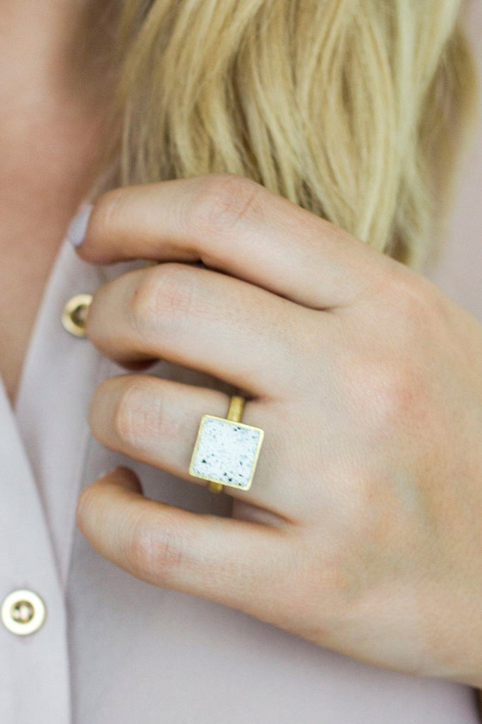 Brushed Brass & Jesmonite Square Ring