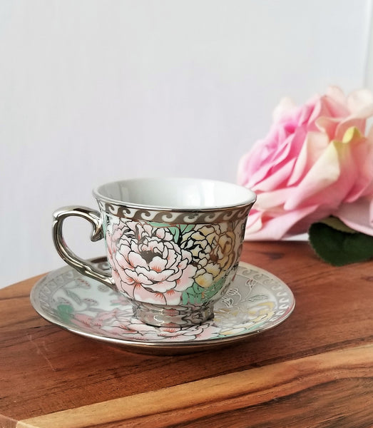 Silver pink flower Tea Cup Soy Candle