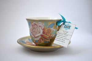 Coffee Cup Golden Blue