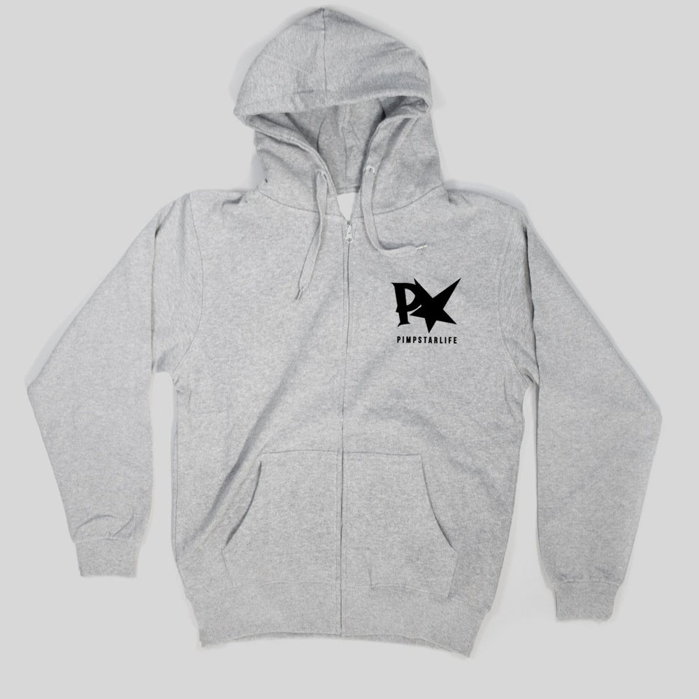 Pimpstar Ride And Destroy | Zip Hoodie, Grey